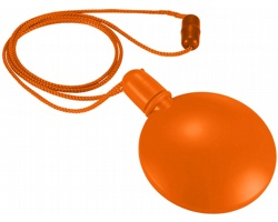 Plastový kulatý bublifuk DEMILUNE se šňůrkou na krk, 40 ml - oranžová