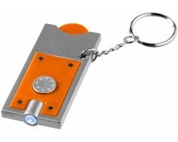 Přívěsek na klíče CHIP s žetonem do vozíku a LED svítilnou - oranžová / stříbrná