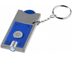 Přívěsek na klíče CHIP s žetonem do vozíku a LED svítilnou - královská modrá / stříbrná