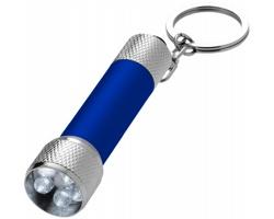 Hliníková LED svítilna na klíče CAWED - modrá / stříbrná