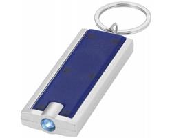 Plastová LED svítilna na klíče FELT - modrá / stříbrná