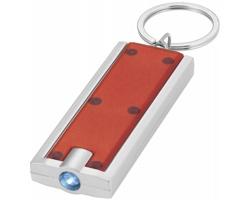 Plastová LED svítilna na klíče FELT - červená / stříbrná