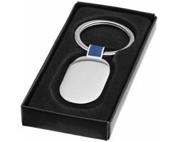Kovový oválný přívěsek na klíče SOLED v dárkové krabičce - stříbrná / královská modrá