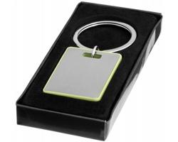 Kovový přívěsek na klíče HISS s barevným lemováním v dárkové krabičce - jemně zelená / stříbrná