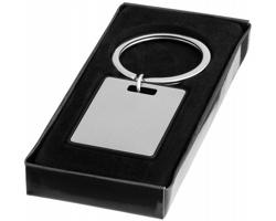 Kovový přívěsek na klíče HISS s barevným lemováním v dárkové krabičce - stříbrná / černá