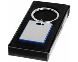 Kovový přívěsek na klíče HISS s barevným lemováním v dárkové krabičce - královská modrá / stříbrná