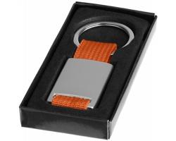 Kovový přívěsek na klíče FLAME s textilní úpravou - oranžová / stříbrná