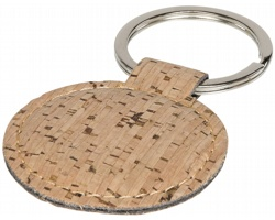 Korkový přívěsek na klíče FOLKS tvaru kruhu - přírodní