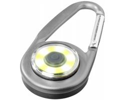 Hliníková LED svítilna TOOTSIES s karabinou - stříbrná