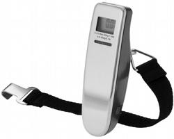 Kovová digitální váha na zavazadla REYNA v kompaktním rozměru pro přenášení - stříbrná