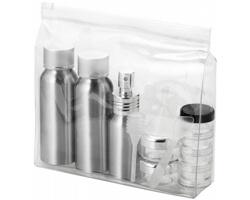 Sada cestovních hliníkových lahviček DICTA schválená leteckými společnostmi - stříbrná