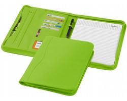 Konferenční desky na zip LILAC s přihrádkami a linkovaným blokem v designu imitace kůže, formát A4 - světle zelená