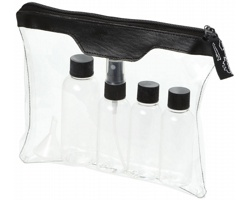 Sada kosmetických lahviček na cesty LIPS - černá / transparentní