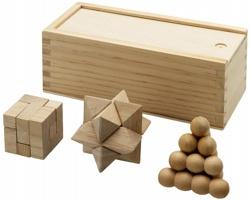Sada tří dřevěných hlavolamů DINT v dřevěné krabičce - přírodní