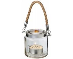Skleněná lucerna na čajovou svíčku Seasons SOLANO - transparentní čirá