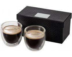 Dvoudílná sada termohrnků na espresso GALANO v luxusní dárkové kazetě, 80 ml - transparentní