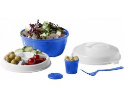 Plastová cestovní sada na salát PUIS - modrá / bílá