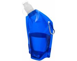 Laminovaný vak na nápoje MAPLE s hliníkovou karabinkou, 375 ml - transparentní modrá
