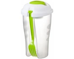 Plastová salátová sada EMELINA s vidličkou a snímatelnou nádobkou na dressingy a posypky - jemně zelená / transparentní