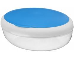 Svačinová dóza SALAT se skládací vidličkou, 400 ml - transparentní modrá