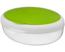 Svačinová dóza SALAT se skládací vidličkou, 400 ml - jemně zelená / transparentní