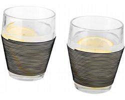 Sada finských designových skleniček Timo Sarpaneva HOMETOWN, 330 ml v dárkovém balení - černá / transparentní