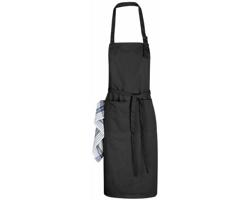 Bavlněná kuchyňská zástěra ŽANETA s přezkou kolem krku - černá