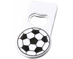 Plastový fotbalový otvírák lahví GENII s magnetem - bílá