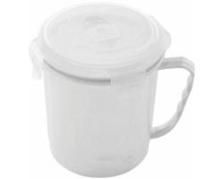 Plastová potravinová dóza SIDE s pojistným uzávěrem, 600 ml - bílá