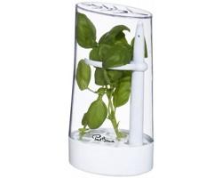 Plastová transparentní dóza Paul Bocuse RICH HERB pro uchování bylinek - bílá