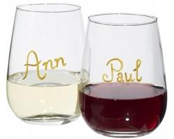 Sada skleniček na víno HOTCAKES se zlatým fixem pro označení, 450 ml - transparentní čirá