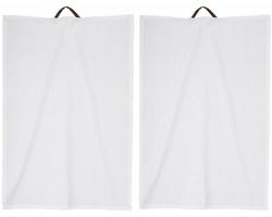 Sada bavlněných ručníků FIFO s koženým poutkem - bílá