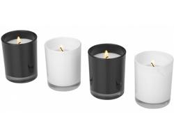 Sada skleněných aromatických svíček POMPAO, 4 kusy - bílá / černá