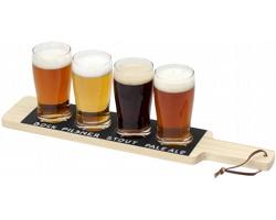 Dřevěné servírovací prkénko se skleničkami BERITO s tabulovou úpravou pro popisování drinků, 250 ml - přírodní