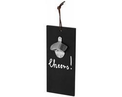 Dřevěný závěsný otvírák lahví CHEERS pro psaní vzkazů - černá / stříbrná