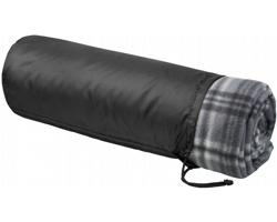 Fleecový kostkovaný pléd SABOT se stahovacím pouzdrem - černá