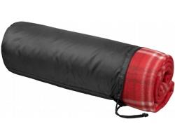 Fleecový kostkovaný pléd SABOT se stahovacím pouzdrem - červená