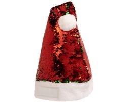 Polyesterová vánoční čepice CARPE s flitry - červená / zelená