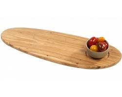 Značkové dřevěné servírovací prkénko Jamie Oliver HOMEWOOD s kameninovou miskou na dip - hnědá