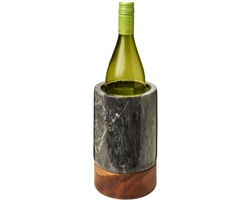 Chladič na lahev vína PILED ze dřeva a mramoru - hnědá / šedá