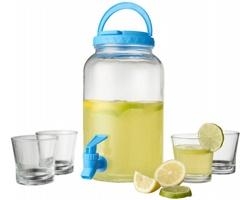 Skleněný džbán na pití CULTISM s čepovacím kohoutkem a sklenicemi, 3l - transparentní čirá