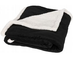 Značková fleecová deka Field & Co Sherpa GLIB s povrchem sherpa - černá
