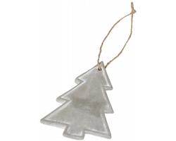 Cementová vánoční ozdoba stromeček WRYER s konopnou šňůrkou - šedá