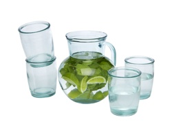 Skleněná sada na pití SPANGLE z recyklovaného skla, 5 ks - transparentní čirá