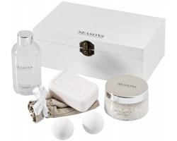 Koupelová sada s vůní bavlny Seasons WINSTON v dřevěném boxu - bílá