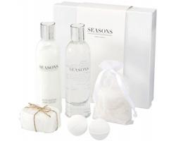 Relaxační koupelová sada Seasons HAMILTON, 6 ks kosmetiky v dárkovém balení - bílá