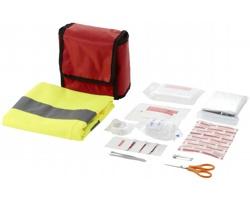 Sada první pomoci GUARD s profesionální bezpečnostní vestou, 18 ks - červená