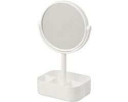 Plastové oboustranné kosmetické zrcátko AIDED s organizérem - bílá