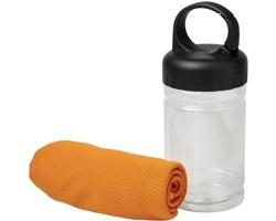 Chladivý ručník DRESS v nádobce z PET - oranžová