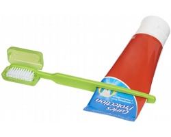 Plastový kartáček na zuby MOGUL s vytlačovačem pasty - jemně zelená